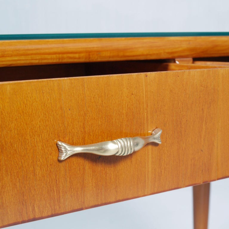 Italian 1950s by Cantù Two Drowers Desk Writing Tables or Vanity Gio Ponti Attributed For Sale