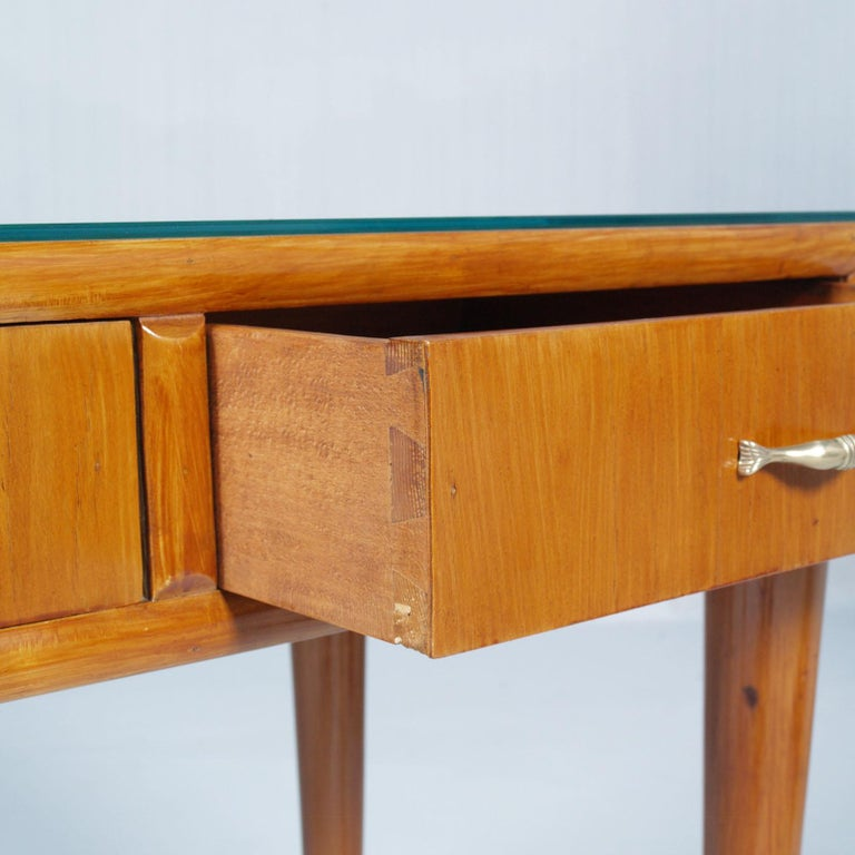Gilt 1950s by Cantù Two Drowers Desk Writing Tables or Vanity Gio Ponti Attributed For Sale