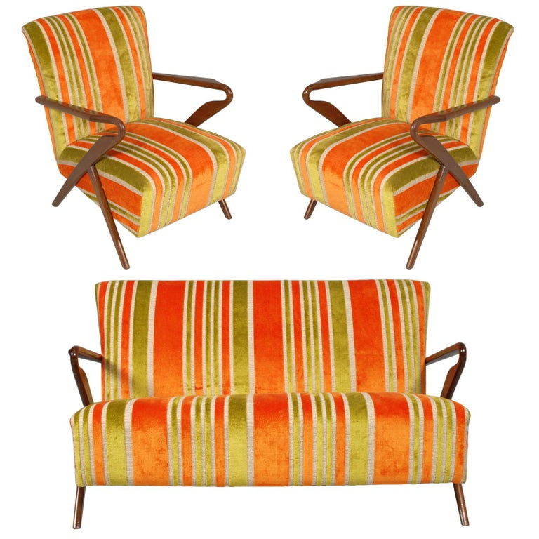 Midcentury Carlo de Carli Designer Attributed Restored Setof Armchairs and Sofà For Sale