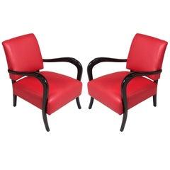 Paolo Buffa Attributed Art Deco Lounge Chairs, Ebonized Walnut Curved Armrests
