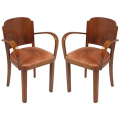 Italian 1920s Art Deco Bridge Chairs, All Original Velvet Upholstered, in Walnut