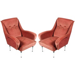 Italian Pair of Mid-Century Modern Lounge Chairs, Paolo Buffa Pink Coral Velvet