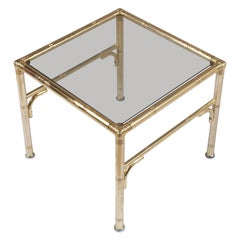 Italian Midcentury Coffee Tables, Faux Bamboo in Gilt Metal, Smoked Glass Top