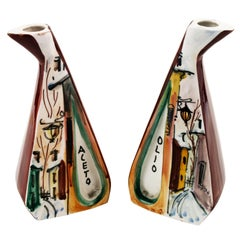 1950s Vinegar and Oil Set Container, Hand-Decorated Ceramic, Fornasetti Style
