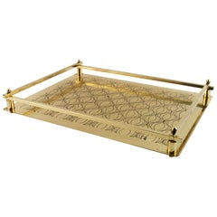 Art Deco Italian Tray Table in Golden Metal Decorated with Geometric Shapes