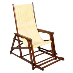 Midcentury French Folding Canvas Long Chair, Clairitex Chaise Long de Paquebot