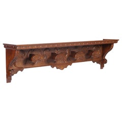 Tuscan 1930s Renaissance Coat Hat Rack Hanger, Bonciani Cascina in Carved Walnut