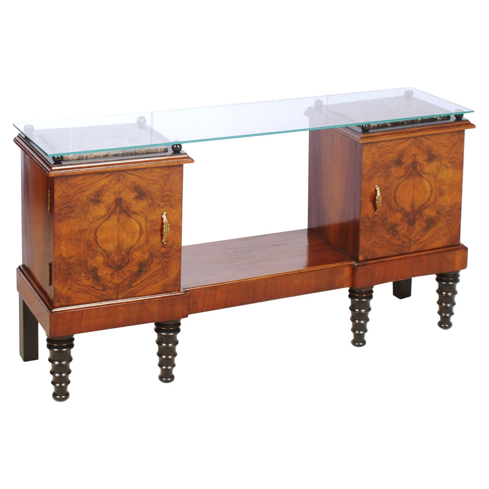 Console Art Deco, entrance cabinet, in burl walnut and ebonized walnut.