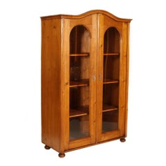 19th Century Country Rustic Biedermeier Bookcase Display Cabinet Wax Polished