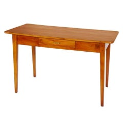 Italian Desk with Drawer Directoire All Cherrywood Restored and Wax-Polished