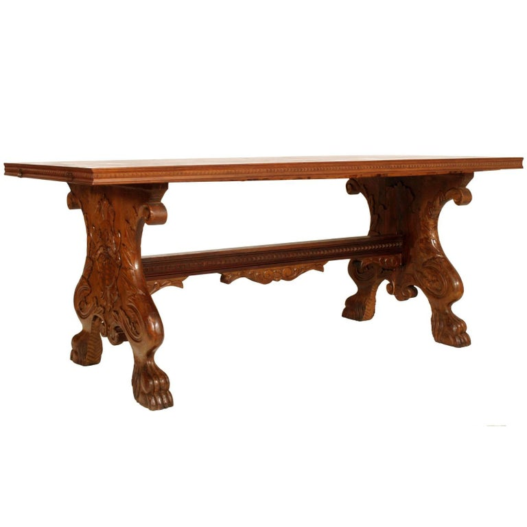 Early 20th Century Italian from Tuscany Hand-Carved Extendable Walnut Table