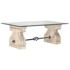 Midcentury Coffee Centre Table, Carved Nanto's Stone Achille Grassi Attributed