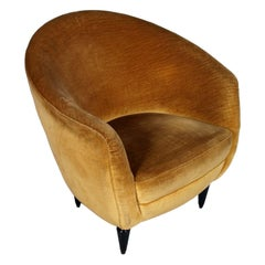 Armchair Gio Ponti Design Attributable, Original Velvet Upholstery, circa 1938