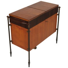 1960s from Cantù Folding Cocktail Bar Cabinet in Teak Franco Albini Attributed