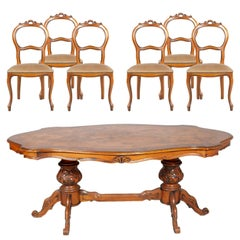 Baroque Ferrarese Period Art Deco Dining Table with Six Louis Philippe Chairs