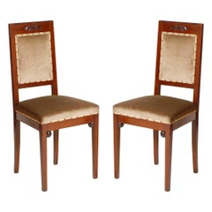 Wiener Werkstätte Art Nouveau Chairs in Walnut, Original Taupe Velvet Upholstery