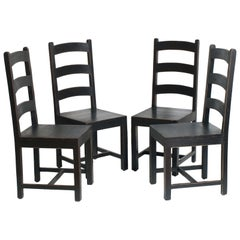Solid Country Art Deco Four Chairs in Ebonized Oak Restored and Wax-Polished