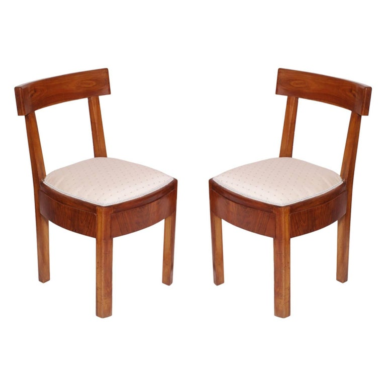 Pair of 1920s Classic Art Deco Italian Chairs, Solid Walnut