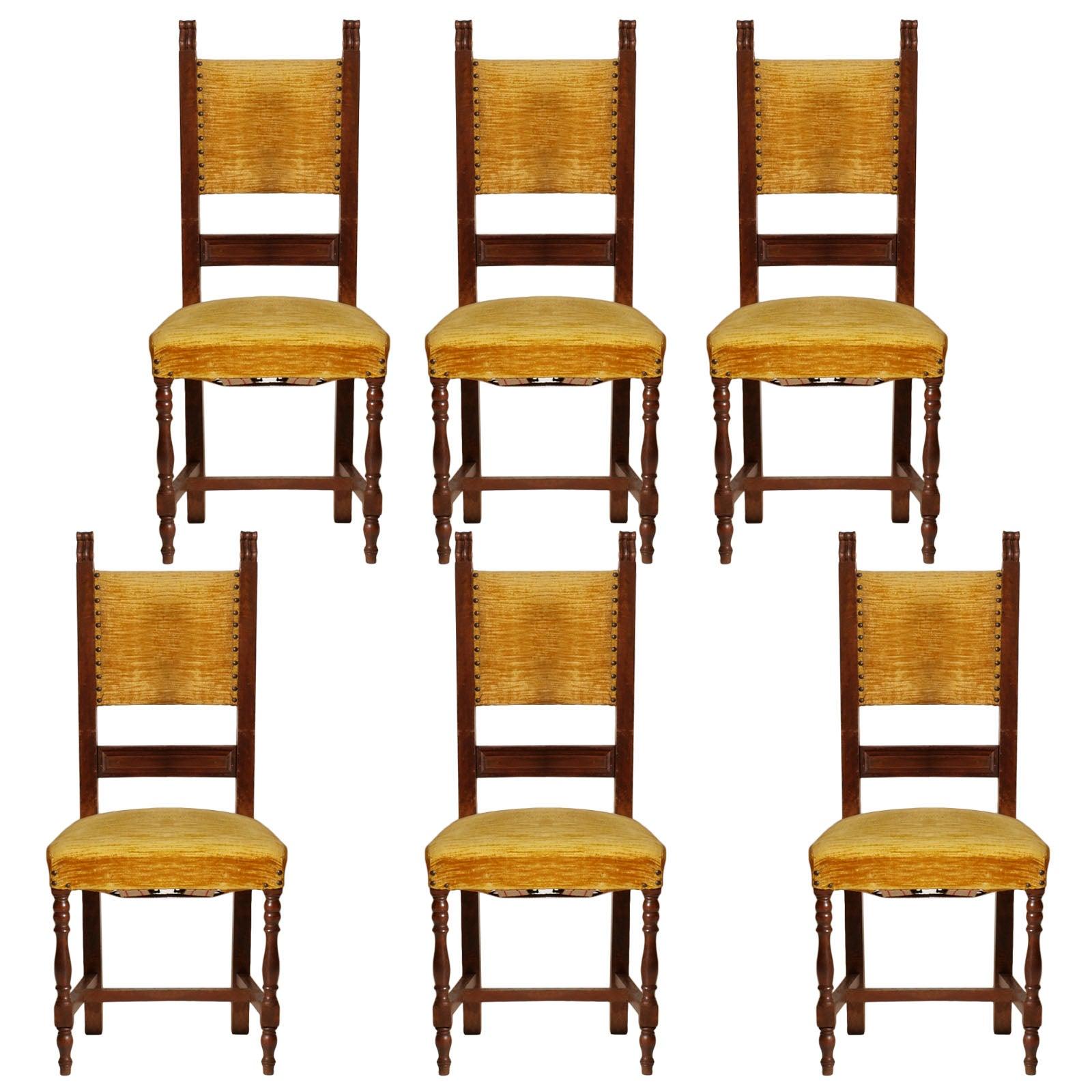 Early 20th Century Italian Set Six Renaissance Chairs in Walnut Wax-Polished