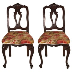 Early 20th Century Venetian Baroque Side Chairs, Hand-Carved Walnut Wax-Polished