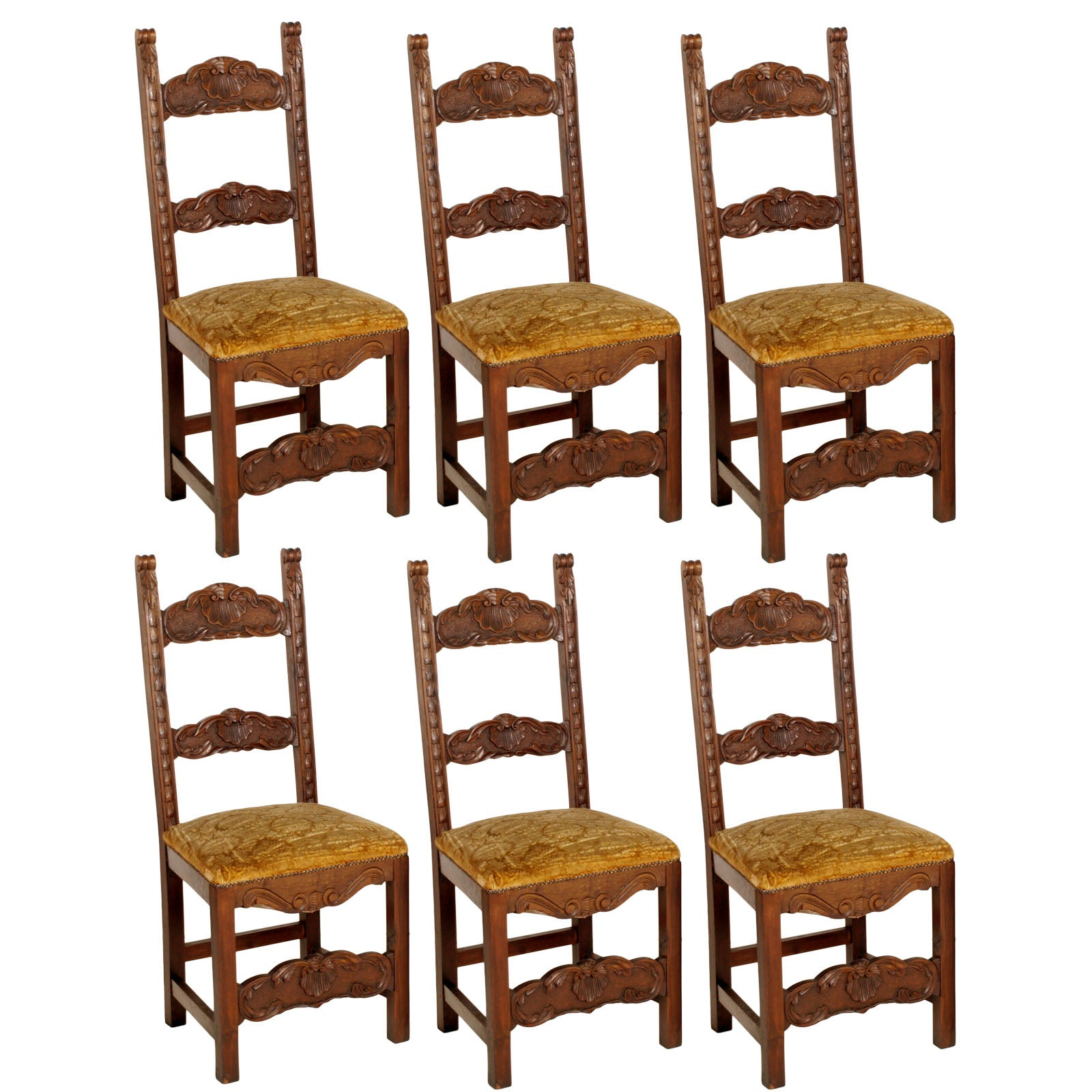 19th Century Set Six Renaissance Chairs in Hand-Carved Walnut, Spring Seat