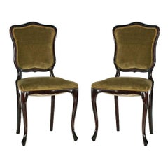 Pair of French Art Nouveau Side Chairs in Solid Mahogany Sprig Seat Green Velvet