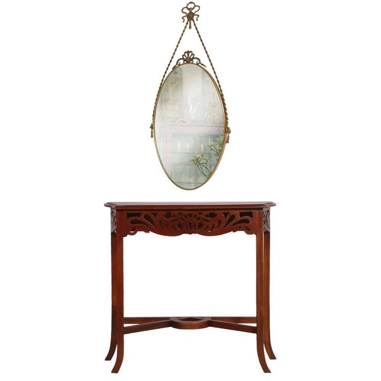 1910s Art Nouveau Console in Carved Wood,  Eugenio Quarti Style, Polished to Wax For Sale