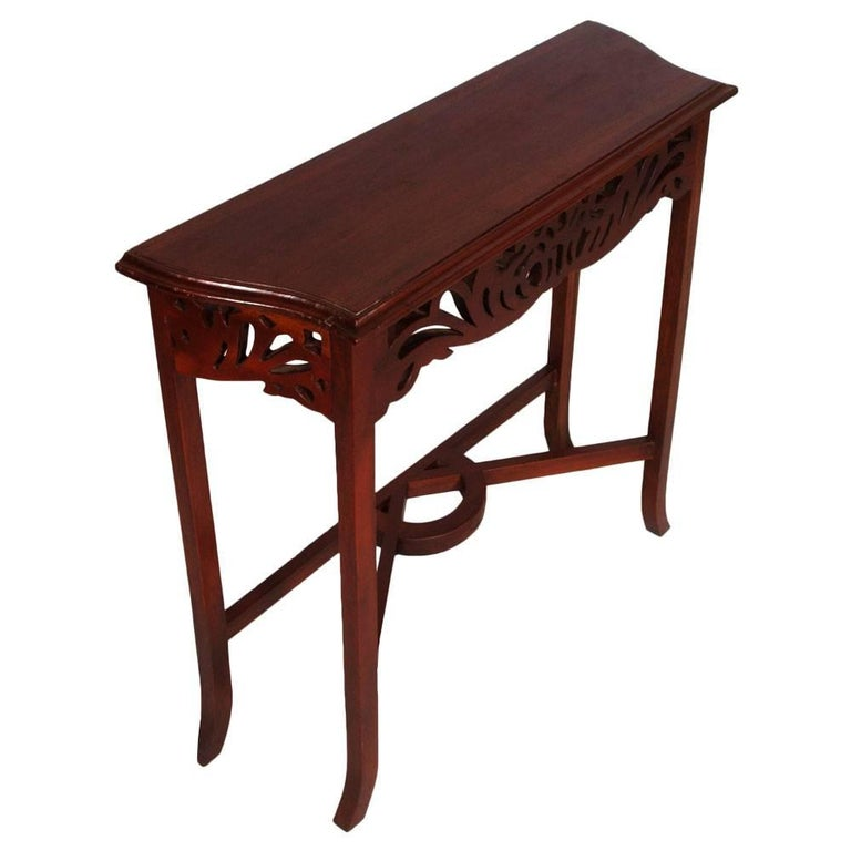 Italian 1910s Art Nouveau Console in Carved Wood,  Eugenio Quarti Style, Polished to Wax For Sale