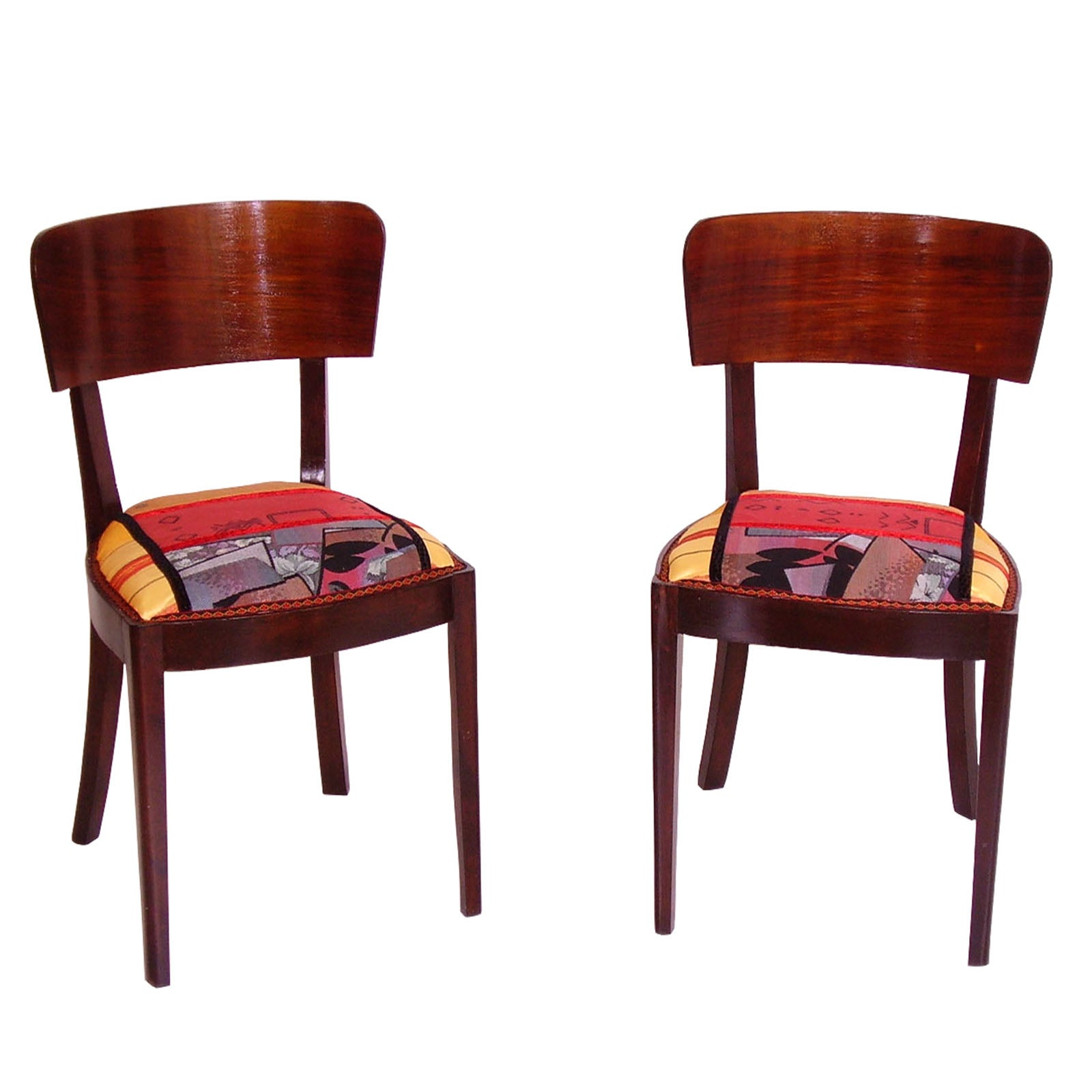 1920s Art Deco Side Chairs in Walnut, Original Sitting with Abstract Upholstery