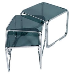 1950s Glass and Chromed Tubular Steel Nest Coffee Tables, Marcel Breuer Style