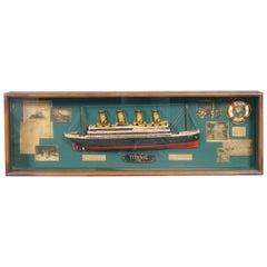 Midcentury English Portobello Model of the Titanic Ship on Display Case