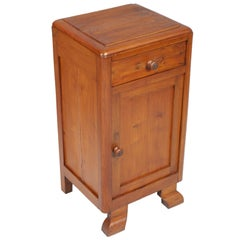 Art Deco Country Bedside Table Nightstand in Pine, Restored and Polished to Wax