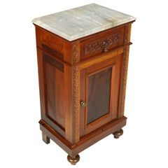 Mid-19th Century Neapolitan Bedside Table Nightstand, White Carrara Marble Top