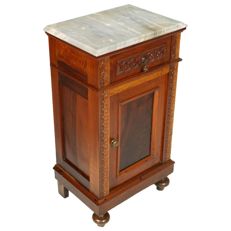Mid 19th Century Neapolitan Bedside Table Nightstand White Carrara Marble Top For