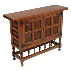 Early 20th Century Cabinet, Console, Buffet, Spanish Colonial, Finished to Wax