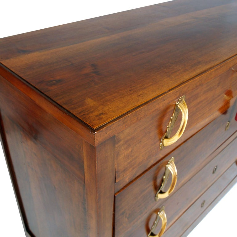 Country 18th Century Italy Commode Arte Povera Solid Walnut, Restored and Wax-Polished For Sale