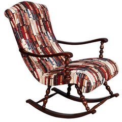 Early 20th Century Italian Rocking Chair, Turned Walnut Restored New Upholstered