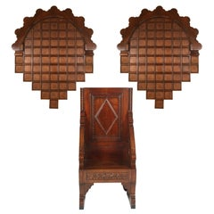 18th Century Renaissance Hand-Carved Throne, Walnut Armchair with Two Crowns