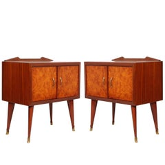 1940s Pair of Nightstands Paolo Buffa Attributed, Mahogany and Elm Burl Veneered