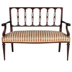 Mid-19th Century Italian Neoclassic Sofa Couch Loveseat in Hand-Carved Mahogany