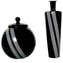 Set Two Vases Tapio Wirkkala for Venini attributable , Blown Black Murano Glass