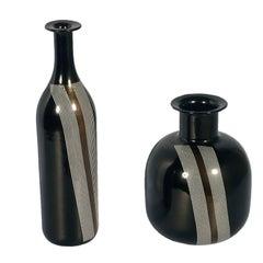 Set of Vases Tapio Wirkkala for Venini Attributable in Blown Black Murano Glass