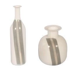 Vase Tapio Wirkkala for Venini Attributable, in Blown Lattimio Murano Glass, Set