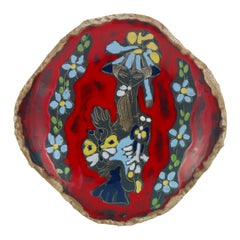 Mid-Century Modern Italian Glazed Ceramic Decorative Plate by Paolo De Poli