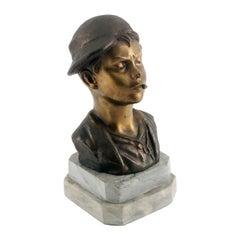 Art Deco Age, Neapolitan 'Scugnizzo' Bust, Polished and Burnished Bronze