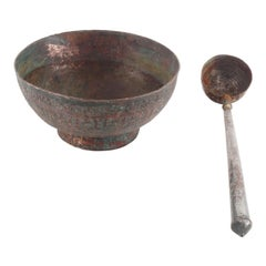 17th Century Heavy Copper Bowls with Ladle Covered with Tin, Handmade
