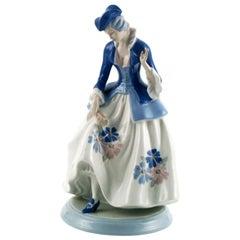 1930s Italian Tall Dama, Polychrome Porcelain by Porcelain Cacciapuoti, Milan