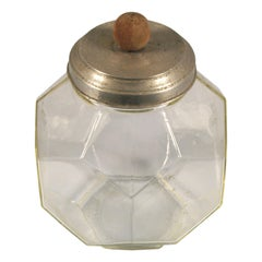 Early 20th Century Multifaceted Glass Jar used as a Container of Biscuits