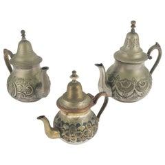 """19th Century Collection Antique Arabian Tea Pots Market """"Papillon"""" Thick Brass"""