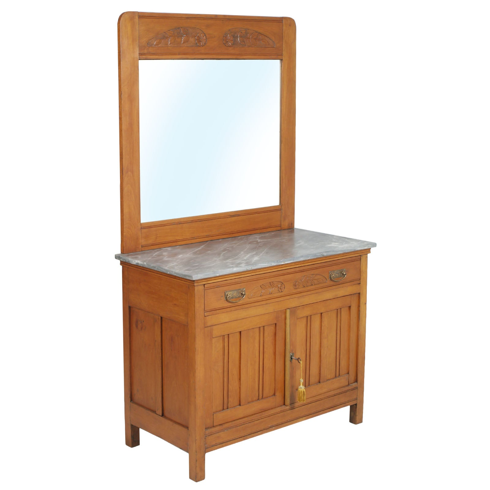 Art Nouveau Vanity Cabinet, Carved Cherrywood, Bevelled Mirror, Gray Marble Top